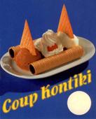 Coup Kontiki. Eisbecher mit Riesenhippen, 3 Eiskugeln, Obers und Faecherwaffeln.